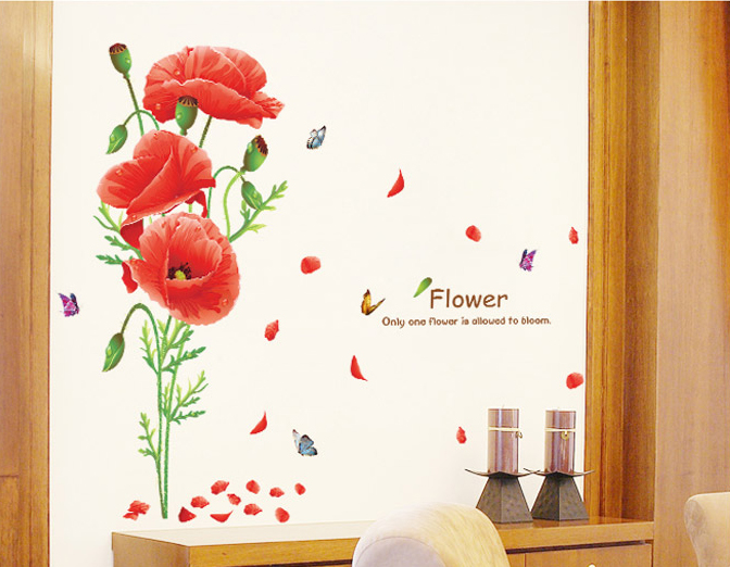 1pcs Red Flower Wall Stickers Living Room Hall Bedroom Home Accessories House Decor Vinyl Decals Mural Poster vinilos paredes(China (Mainland))