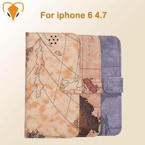 Free shipping World Map Wallet Flip PU Leather Phone Case Cover With Credit Card Slots Stand For Apple iphone6 4.7 mobile phone(China (Mainland))