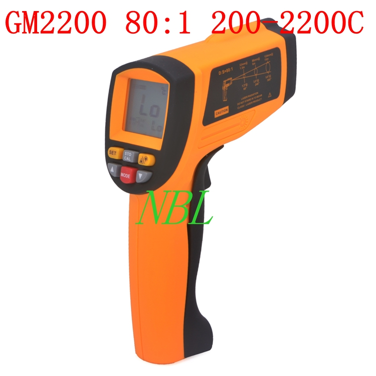 NEW GM2200 Non-Contact LCD Display Temperature Meter IR Infrared Digital Thermometer Gun Laser 200~2200C 80:1 RS232(China (Mainland))