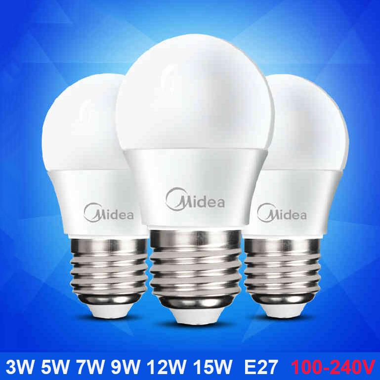 3pcs/lot Midea Top quality Lampada led lampled bulb E27 E14 Light Bulb 2W 3W 4W 5W 7W 9W 12W AC100-240V Warm White Led Lamps(China (Mainland))