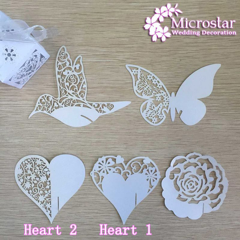 Place Card 50 Pieces Heart Butterfly Flower Bird Glass Wedding Cards Laser Cut Pear lscent Cards Party Birthday Decoration(China (Mainland))