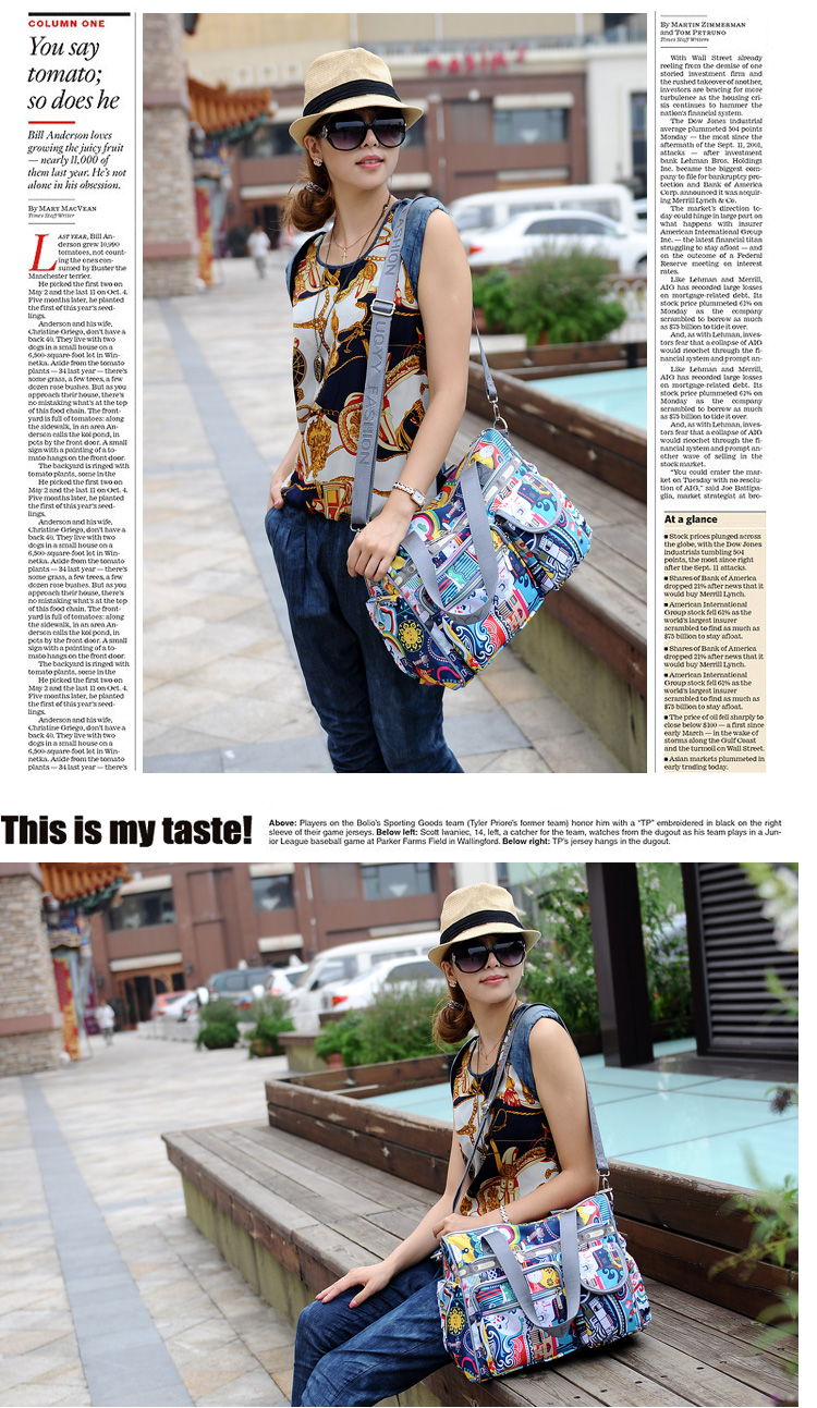 Stylish Printing Casual Hand Bag 2016 New Fashion Women Practical Durable Nylon Bag Ladies Fashion Contrast Color Shoulder Bag