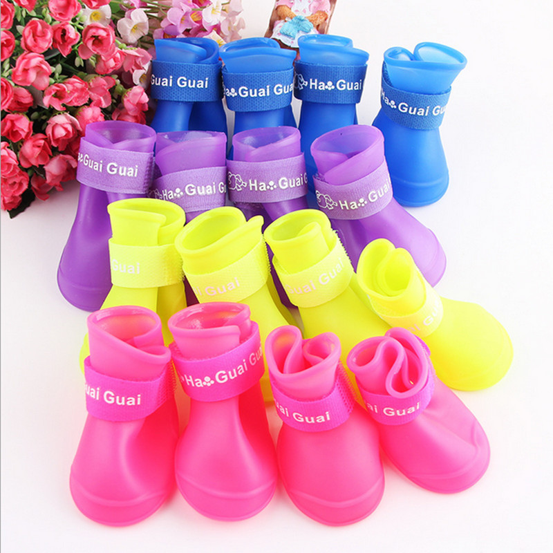 Dog Shoes Portable Pet boots waterproof Rain Shoes Dog Supplies Dog's Shoes S M L Yellow Purple Blue Pink Direct marketing(China (Mainland))