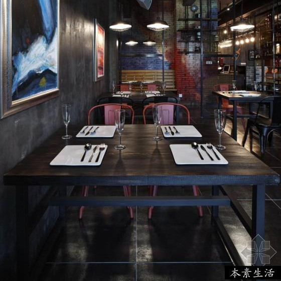 Wholesale american iron wood square table restaurant bar