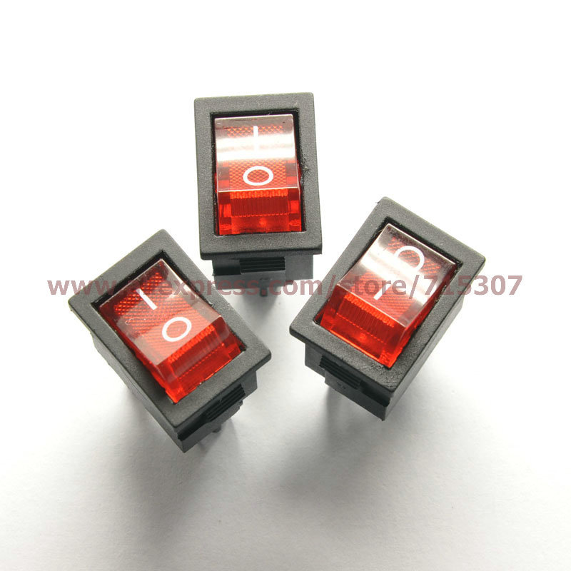 Free Shipping 10pcs/lot 4 Pin 6A 250V Red Button With Light Rocker Switch KCD1-104 On - Off Import Rocker Power Switches(China (Mainland))