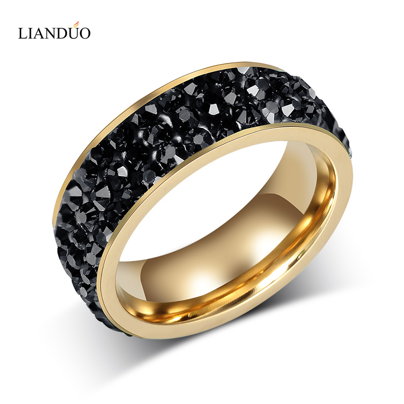 Fashion Women Crystal Rings Wholesale 18K Gold Plated Stainless Steel Wedding Rings For Women Party Jewelry(China (Mainland))