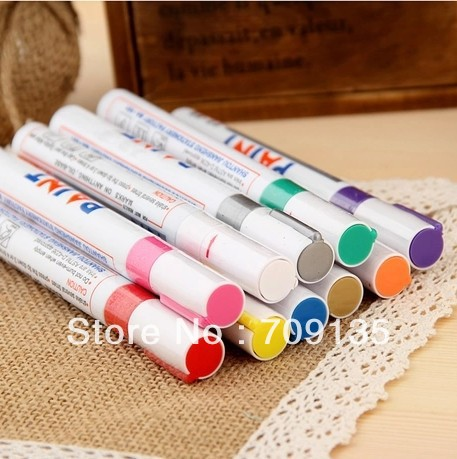 Free shipping 10pcs/lot Permanent Waterproof Car motorcycle Tyre Tire Metal Paint Marker Pen, touch up pen, 11 colors available(China (Mainland))