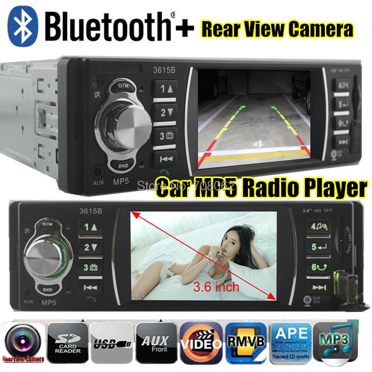 Car radio player bluetooth function Stereo MP5 3.6 inch TFT screen Support Rear Camera 12V Car Audio MP3 MP4 MP5 FM/USB/SD/MMC