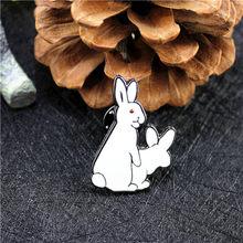 XQ donna di Modo dei monili bianco Dello Smalto carino rogue coniglio collare ago pin spilla signore accessori commercio all'ingrosso della fabbrica di Qingdao(China)