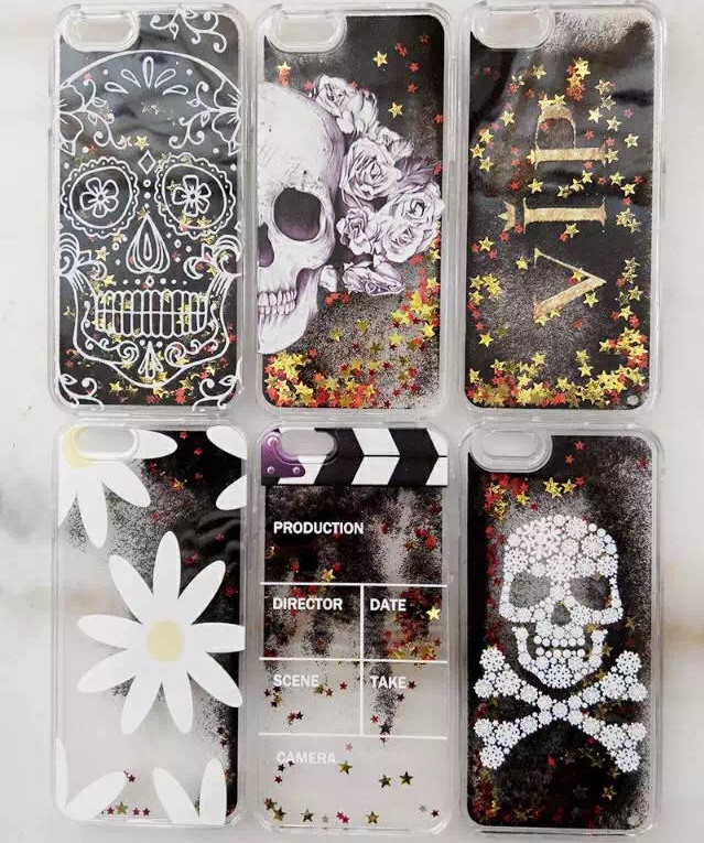 For iPhone 5 5s 6 6s Plus,3D Skull VIP flowers Printed Dynamic Glitter Liquid Quicksand Plastic Case(China (Mainland))
