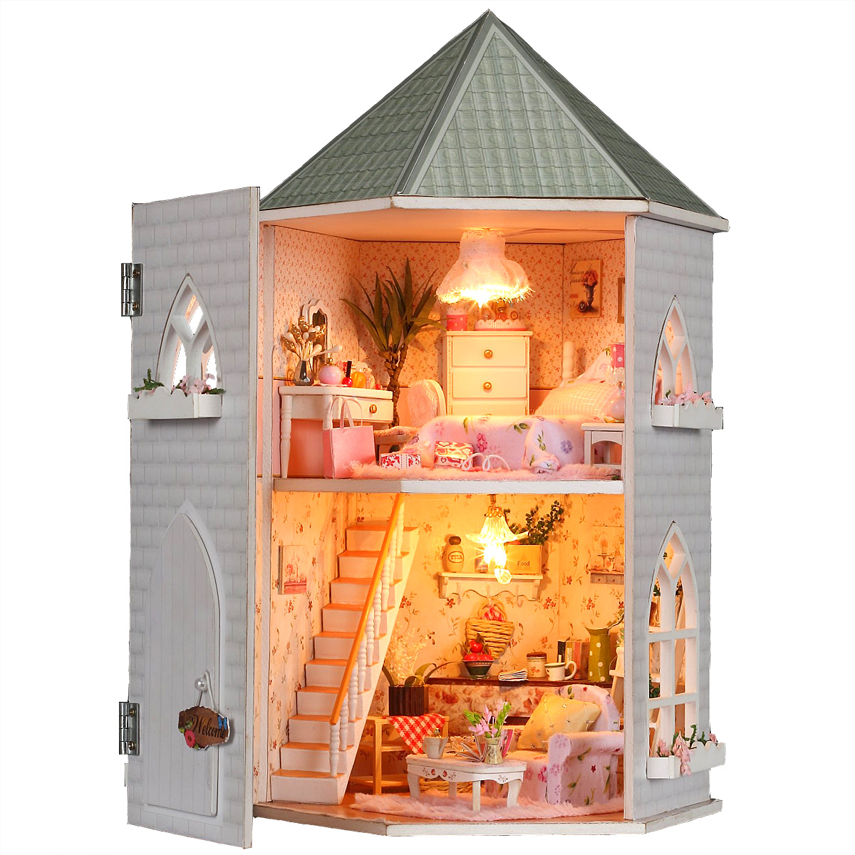 wooden toys doll house miniature educational diy