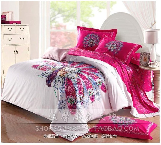 Buy peacock bird print hot pink bedding for Hot pink bedroom set
