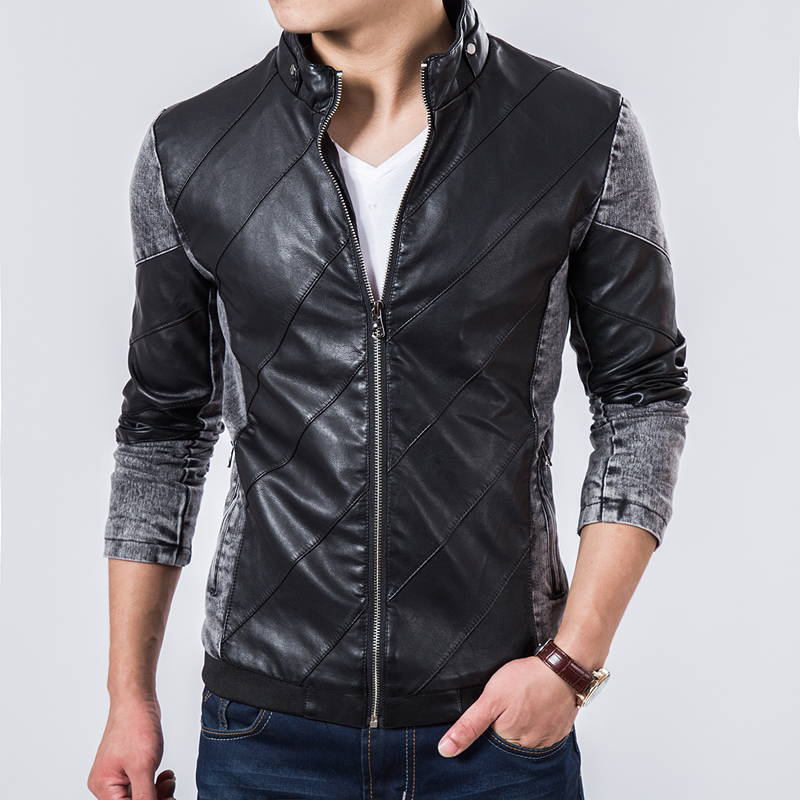 2015 Fall Top Quality Boutique Brand Jeans Jacket Men Slim Fit Male Leather Jacket Casual denim Jackets For Men Chaqueta Hombre(China (Mainland))