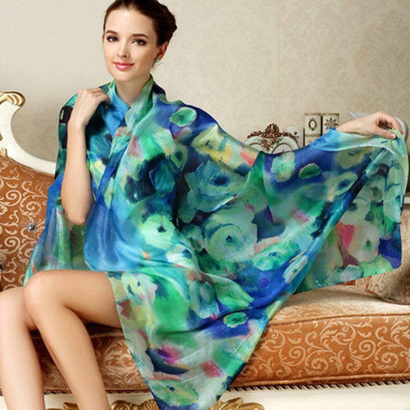 2015 Women Winter Long Scarf Shawl Spring Autumn Female Blue Silk Scarves Printed Summer 100% Mulberry Silk Beach Cover-ups(China (Mainland))