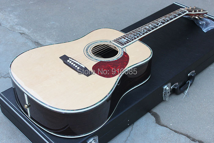 China Manufacture, Quality M D45S Acoustic Guitar w Luxury Accessories AAA solid Spruce Top Ebony Fretboard Real Grover Turners(China (Mainland))