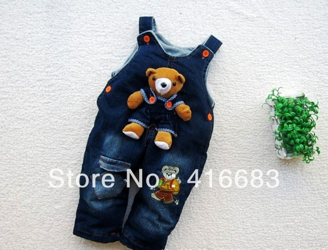 Freeshipping Baby Bear / Rabbit Jeans Romper, Baby suspender trousers, Baby Jumper pants,Thick and thin