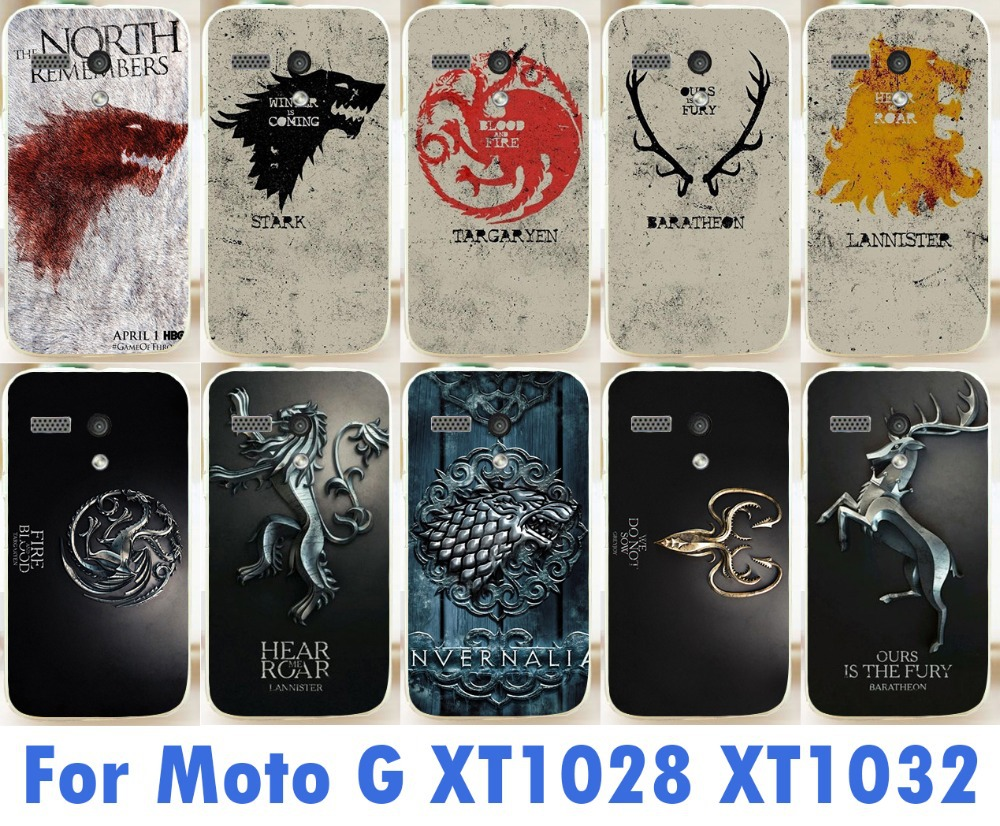 hot the game of thrones family flag phone case For Motorola Moto G XT1028 XT1031 XT1032 new cool pattern skin shell cover case(China (Mainland))