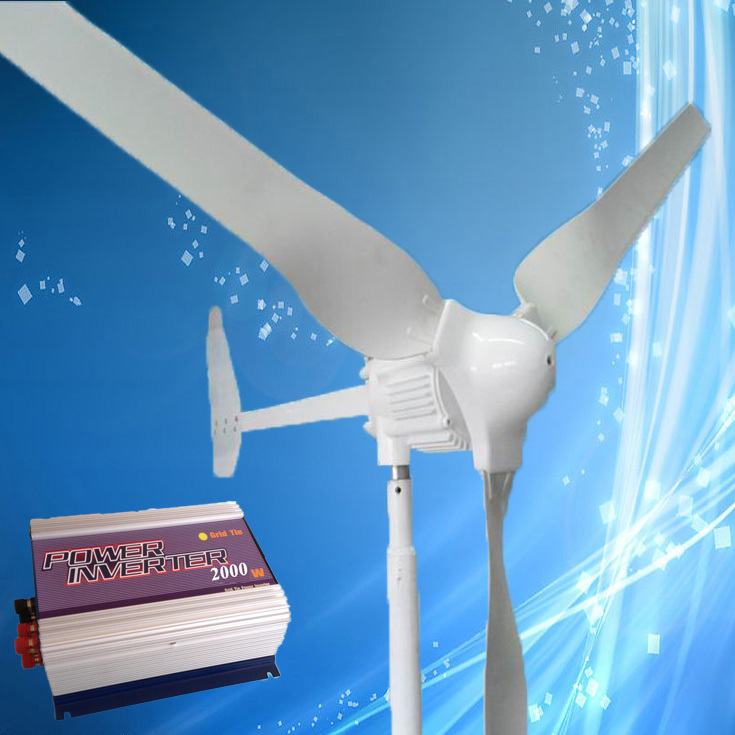 1000W 48V Wind Turbine Generator 3PCS Blades with Tail Turned Brake Protection + 2000W Grid Tie Wind Inverter, 3 Years Warranty(China (Mainland))