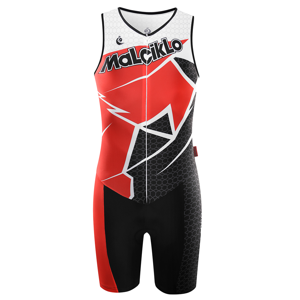 MALCIKLO Sleeveless Men Cycling Jerseys Triathlon Bike Bicycle Skinsuit Breathable Cycling Clothing Jersey New Design Black Red