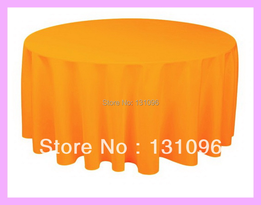 "5pcs High Quality Orange 120"" Round Polyester Plain Table Cloth For Wedding Event &Party &Hotel &Resturant Decoration(China (Mainland))"
