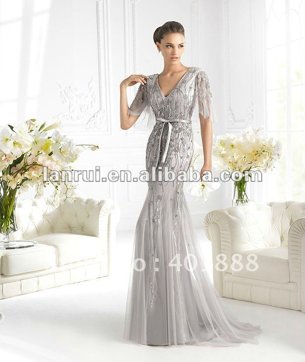 2013 new fashion hot sale silver grey long most beautiful for Cheap beautiful wedding dresses for sale