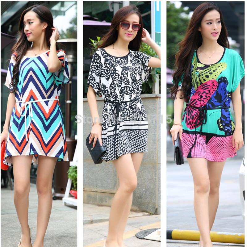 2015 summer dress 40 patterns short sleeve o-neck floral print loose long tunic tops bohemian beach women dresses - Sunflower Fashion store