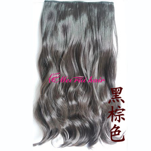 cheap synthetic hair weaves heat resistance black brown wavy Hairpiece Hair Extensions Curly Wavy Clip In Hair Extensions women(China (Mainland))