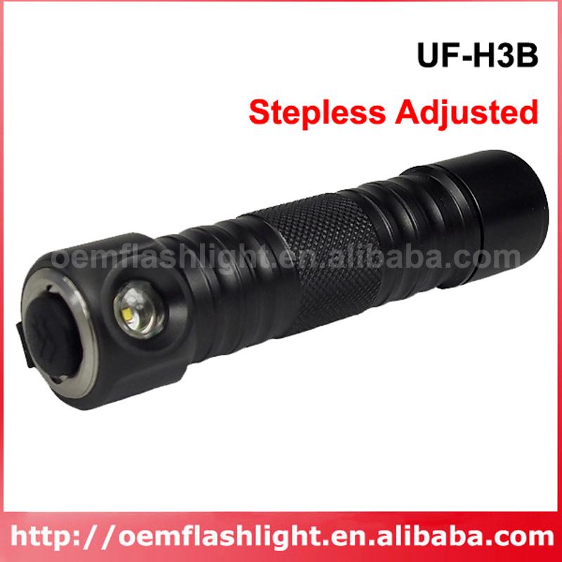 UF UF-H3B Cree XR-E Q5 White 230 Lumens Adjustable Brightness LED Flashlight Grey  (1x18650 )