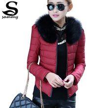 2015 Warm Winter Jacket Women Slim Detachable Fur Collar Coat Ladies Parka Outwear Casual Overcoat Z41(China (Mainland))