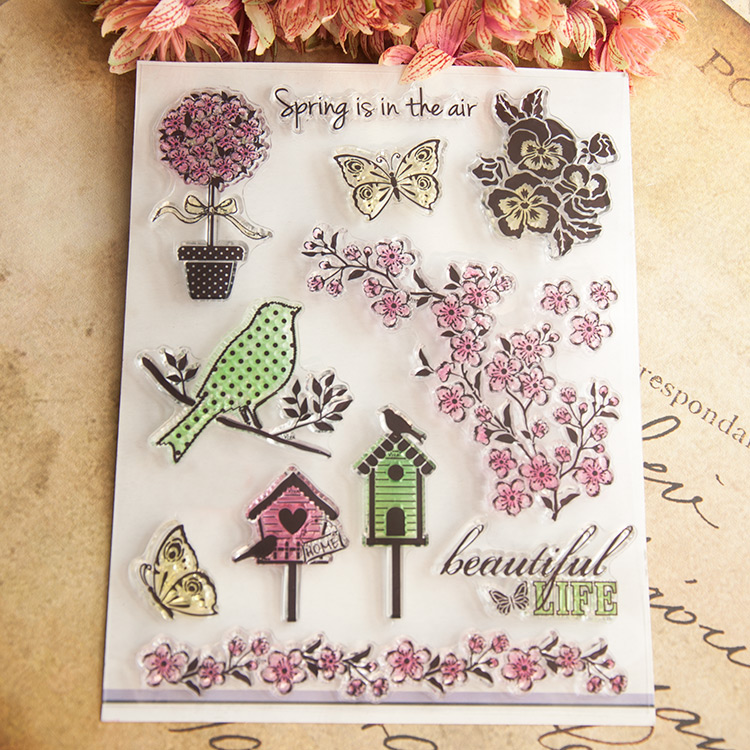 Spring is in the air bird flowers Design Transparent Stamp DIY Scrapbooking for wedding gifr christmas gift paper card BX-028(China (Mainland))