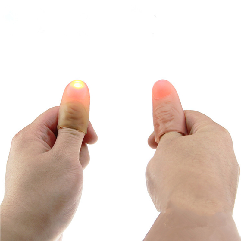 1 Pair Funny Novelty LED Light Flashing Fingers Magic Trick Props Kids Amazing Fantastic Glow Toys Children Luminous Gifts Decor(China (Mainland))