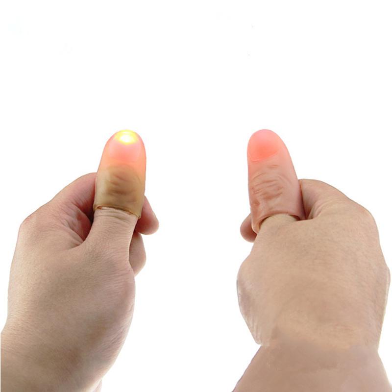1 Pair Funny Novelty LED Light Flashing Fingers Magic Trick Props Kids Amazing Fantastic Glow Toys Children Luminous Gifts Decor(China (Mainland))