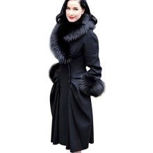 VfEmage Womens Winter Elegant Vintage Detachable Fur Collar Double Breasted Thick Long Coat Jacket Outwear 148(China (Mainland))