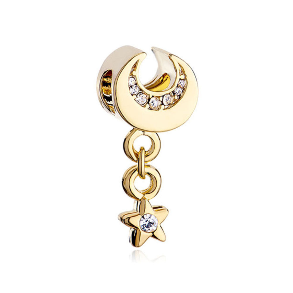 free shipping golden golde crescent moon dangle april