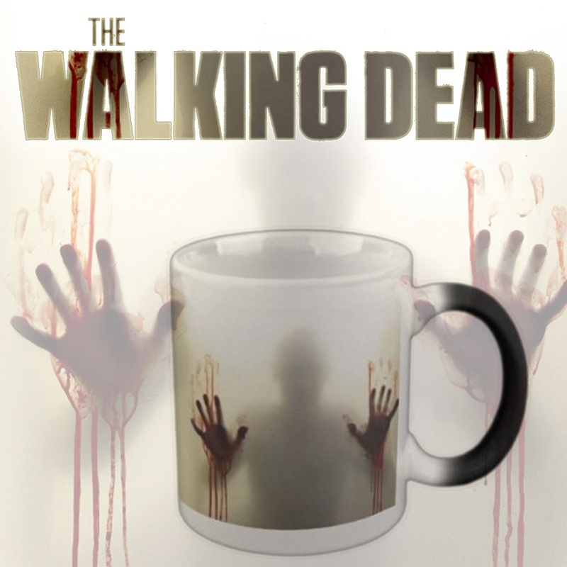 The Walking Dead Mug Heat Sensitive Mugs Transforming Coffee Cup Cold Hot Heat Changing Color Magic Tea Cups For Children Gift(China (Mainland))