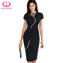 Buy MYCOURSE Short Sleeve women Summer Dress Fashion Mesh Vestidos Sexy dress Asymmetrical Knee Length Plus Size Pencil Dresses M89 for $13.92 in AliExpress store