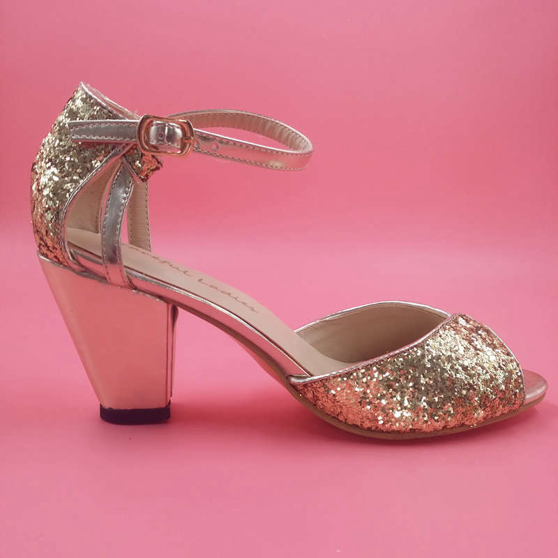 Фотография Gold Glitter Cut-out Ankle Strap Mid High Heel Sandal For Women Shoes Sexy Sandals Designer Shoes Women Real Image No PS