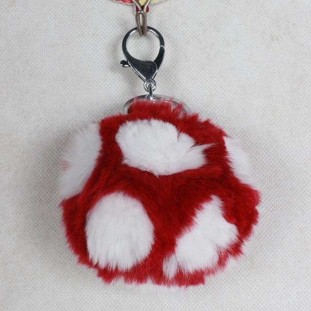 Magic Cube Fur Bag Charm Pom Pom Key Chain Real Fox Fur Ball Keychain Bag Charms Poms Chaveiros Keyrings Llavero Sleutelhanger(China (Mainland))