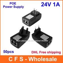 High Quality 50pcs DC 24V 1A Wall Plug POE Injector Ethernet Adapter IP Phone / Camera Power Supply DHL Free shipping(China (Mainland))