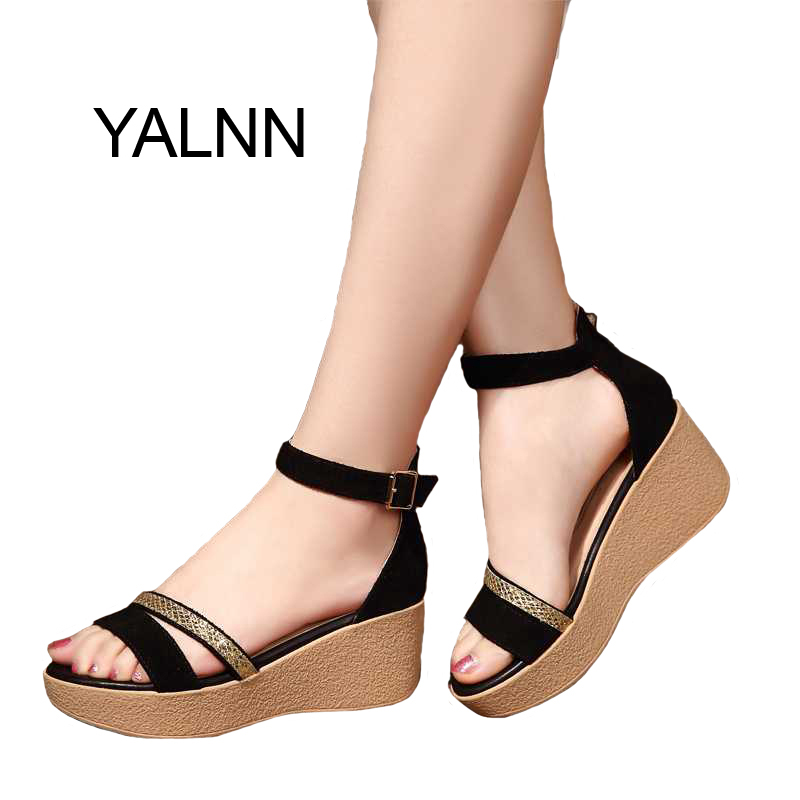 Summer 2017 Hot Fashion New Black Women Sandals Female Shoes for Women Nubuck Leather Trifle Shoes
