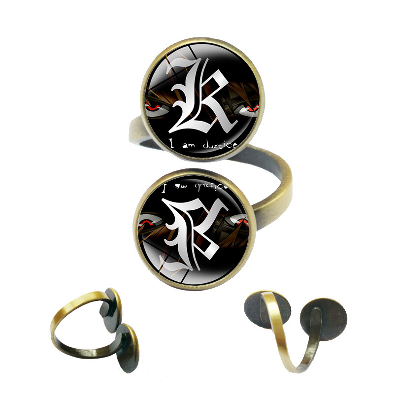 Japan Anime Death Note Rings Letter L Lawliet Kira Jewelry Rings for Women Double Yagami Jewelry Double Sided Gothic Jewellery(China (Mainland))