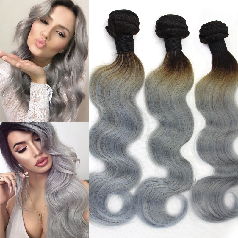 Two Tone 1B Grey Brazilian Body Wave Virgin Hair 3 pcs lot Ombre Grey Hair Weave Cheap Silver Gray Ombre Human Hair Extensions(China (Mainland))