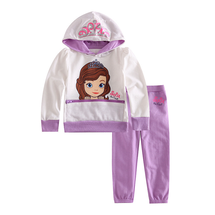 Free Shipping 6sets/lot 12M-5T Baby Girls Sofia the First Terry Hoodies and Pants Set<br><br>Aliexpress