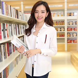 100% Cotton Shirt Female Turn-Down Collar Slim Long-Sleeve Professional White Shirt Front Pocket Women Clothes