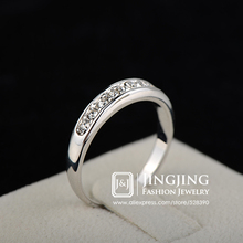 White Gold Plated Half Eternity Band Milgrain Pave 9 pcs Rhinestones Wedding Ring