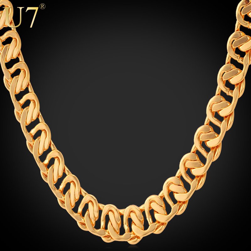 "Gold Necklace With ""18K"" Stamp 2015 New Trendy 18K Real Gold Plated 22"" Length 8 MM Chain Necklaces Men Jewelry Wholesale N377(China (Mainland))"