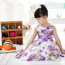 Dress Child Baby Girls Kids Clothes Summer Sleeveless Princess Party Purple Flower Bow Gown Full Dresses 2 4 6 7 8 9 10 Years