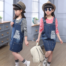 3-14Y, 2016 New Fashion Spring Girls Dress Children Jeans Dress Kids Letters Overalls Dresses (not contain t-shirt)