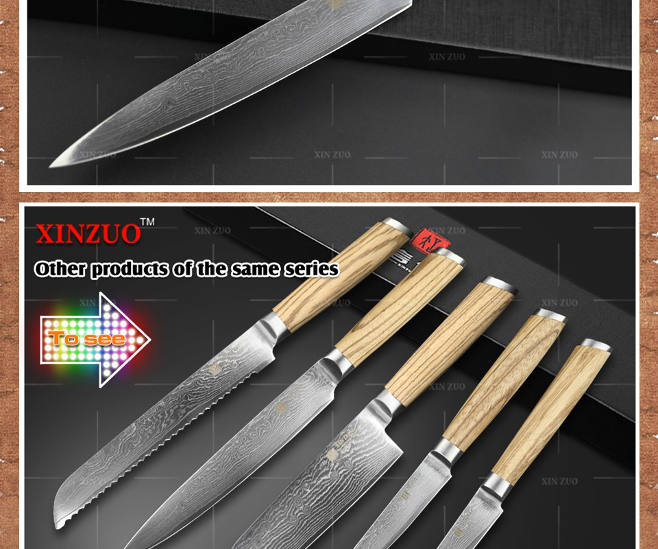 "Buy XINZUO 8 "" cleaver knife 73 layers Japanese Damascus kitchen knife kithcen tools senior Sashimi knife LOGS handle free shipping cheap"