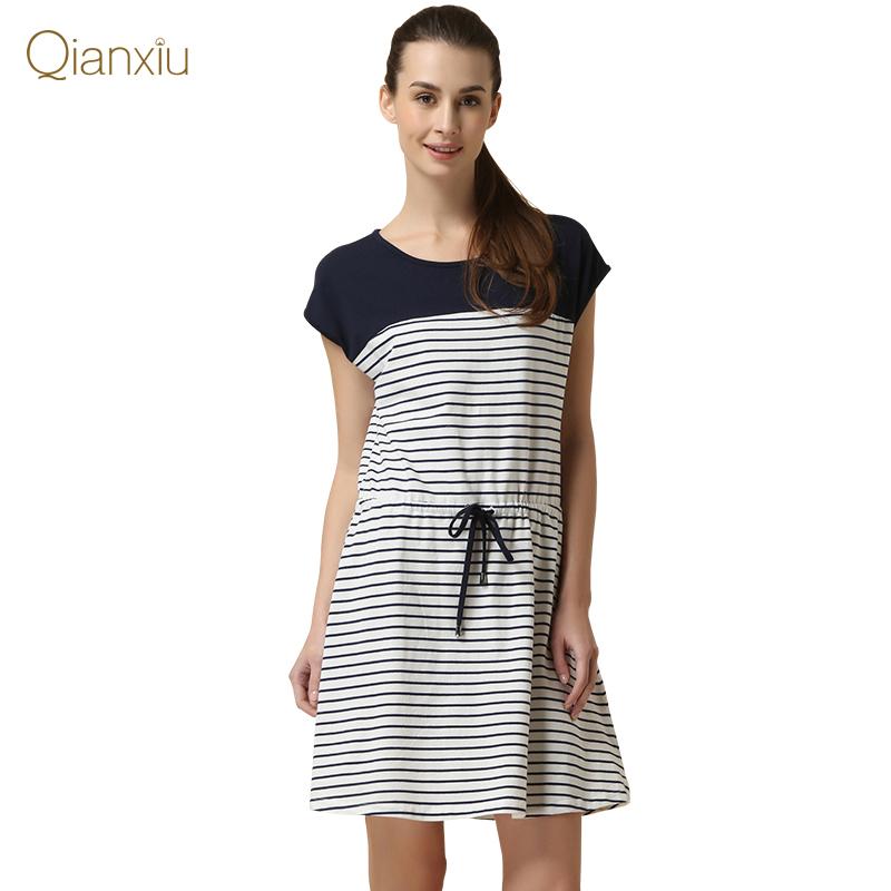 Qianxiu Brand Pajamas Knitted Cotton Nightgown for Women Classic Stripes Sleepwear Free Shipping(China (Mainland))